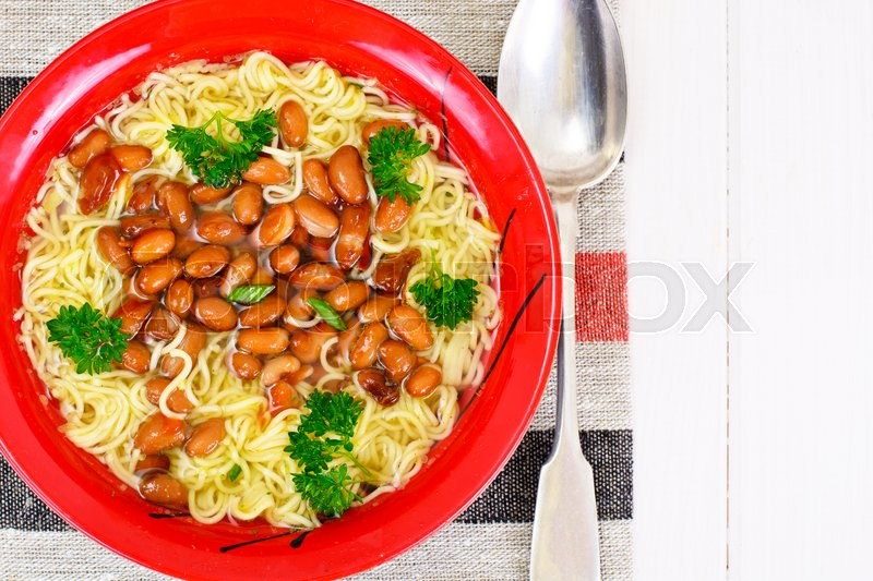 Stock image of 'Soup with Beans and Noodles on Ham Studio Photo'