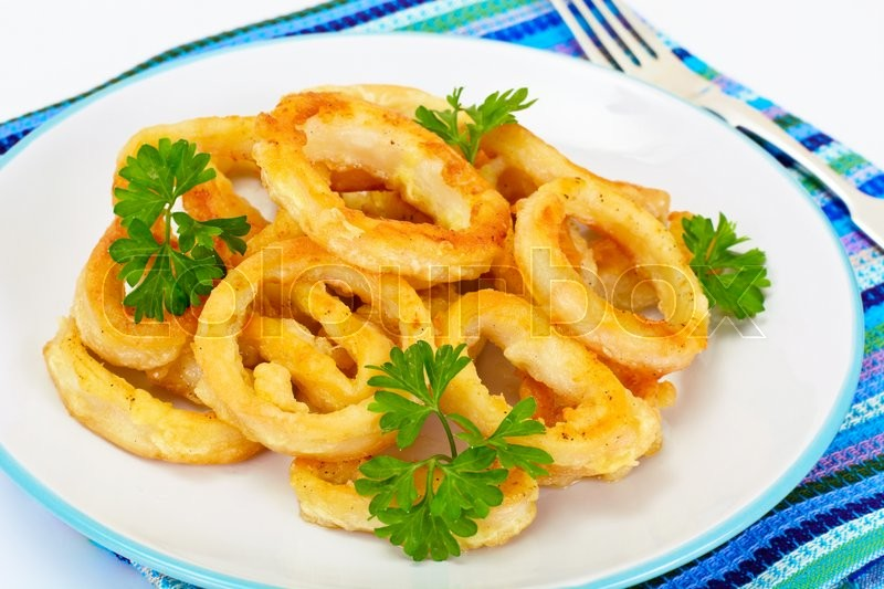 Stock image of 'Rings of Squid Fried, Grilled Studio Photo'