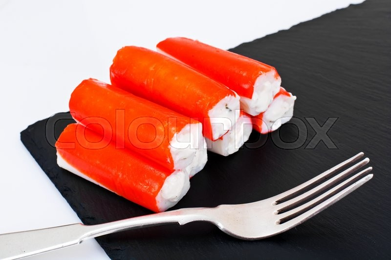 Stock image of 'Crab Sticks Stuffed with Cream Cheese Studio Photo'
