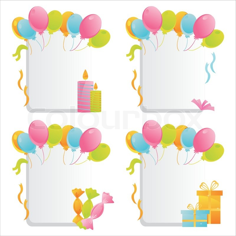 Set of 4 birthday frames | Stock Vector | Colourbox