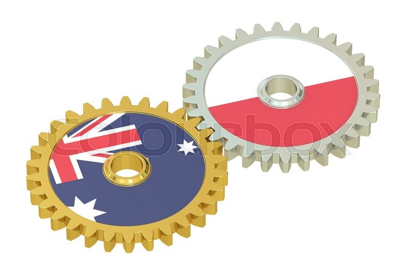 Stock image of 'Australia and Poland flags on a gears, 3D rendering isolated on white background'