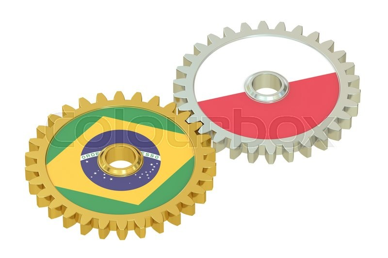 Stock image of 'Brazil and Poland flags on a gears, 3D rendering isolated on white background'