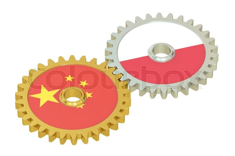 Stock image of 'China and Poland flags on a gears, 3D rendering isolated on white background'