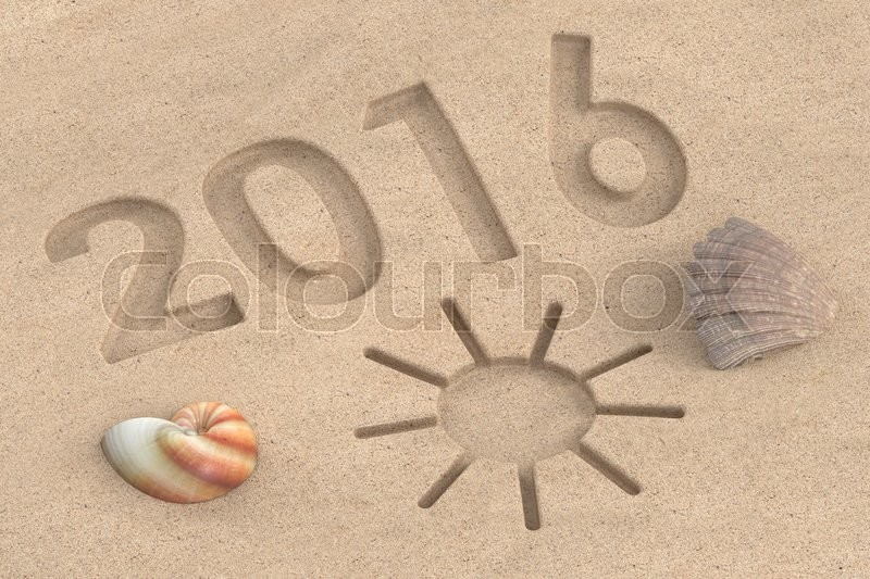 Stock image of 'written 2016 on the beach, vacation 2016 concept. 3D rendering'