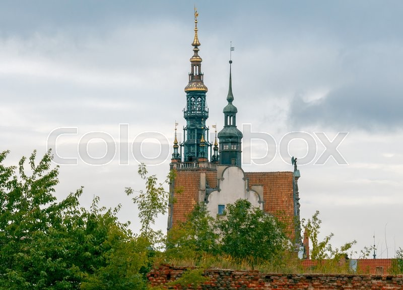 Stock image of 'Bell tower on the tower of the medieval town hall. Gdansk. Poland.'