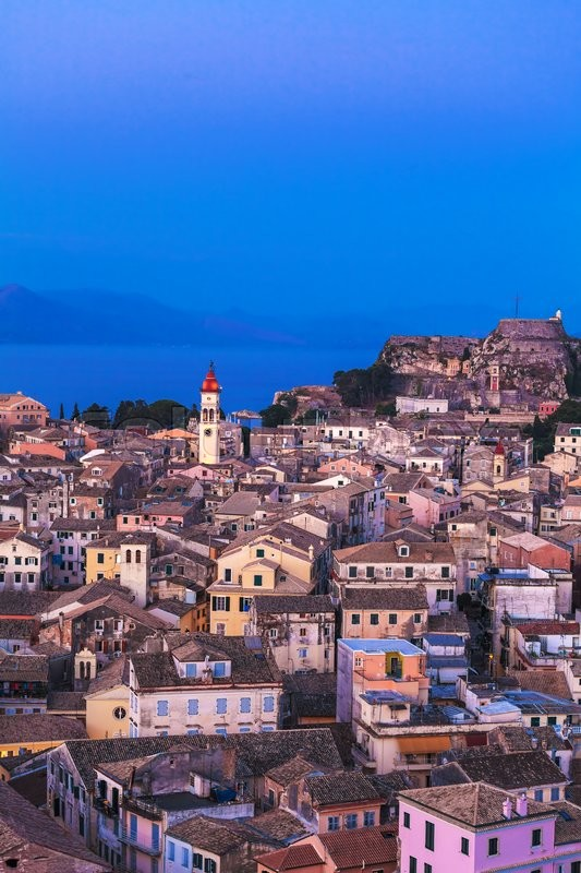 Stock image of 'Aerial view from New fortress on the city with St. Spyridon church at evening, Kerkyra, Corfu island, Greece'