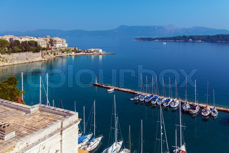 Stock image of 'Marina with yachts, Kerkyra, Corfu island, Greece'