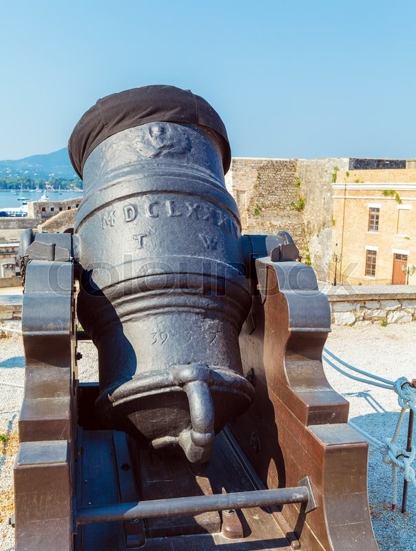 Stock image of 'Antique Canon Inside old fortress, Kerkyra, Corfu island, Greece'