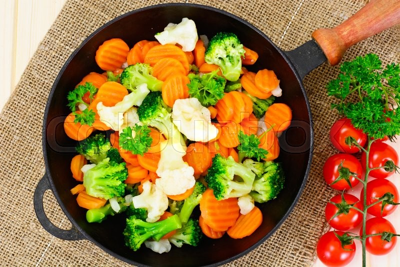 Stock image of 'Steamed Vegetables Potatoes, Carrots, Cauliflower, Broccoli Studio Photo'