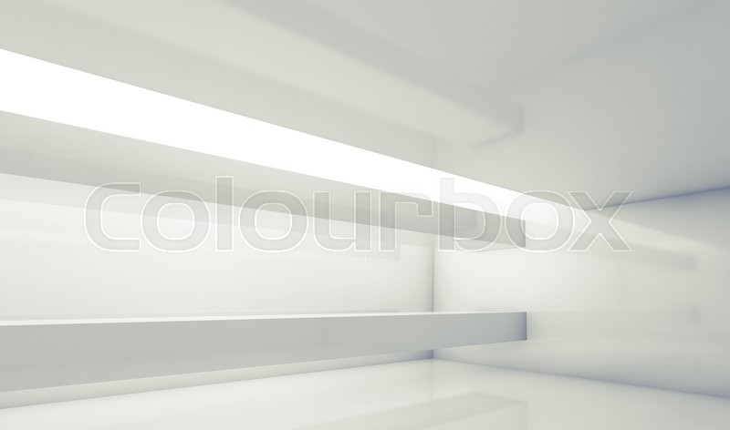 Stock image of 'Abstract white contemporary interior, empty room with beams and soft illumination. Digital 3d illustration, computer graphic'