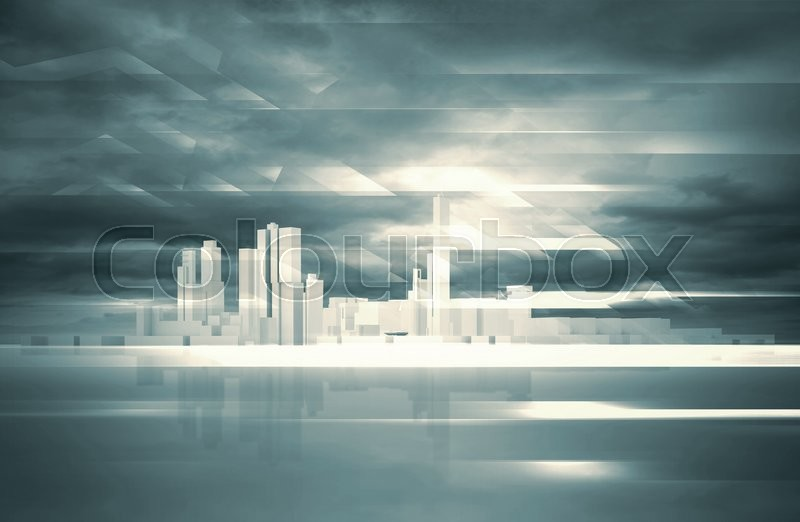 Stock image of 'Abstract contemporary background. Cityscape skyline, dramatic sky and polygonal structures layer. Blue toned digital 3d render illustration'
