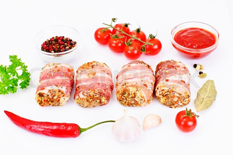 Stock image of 'Meat Rolls in Bacon, Chops Wrapped Beef with Mushrooms Studio Photo'