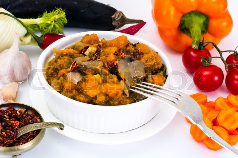 Stock image of 'Pumpkin, Mushrooms, Onions and Carrots Stewed Studio Photo'