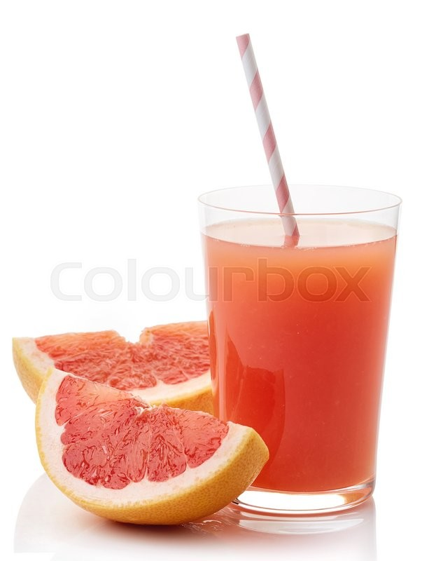 Stock image of 'Glass of fresh grapefruit juice isolated on white background'
