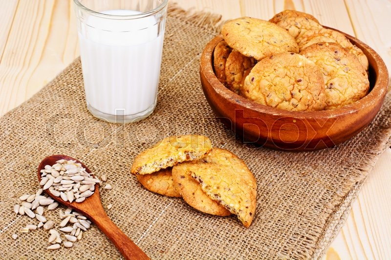 Stock image of 'Cookies Cereal with fresh Milk Studio Photo'