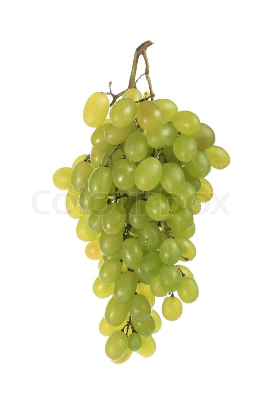 bunch of grapes in a transparent cup white background
