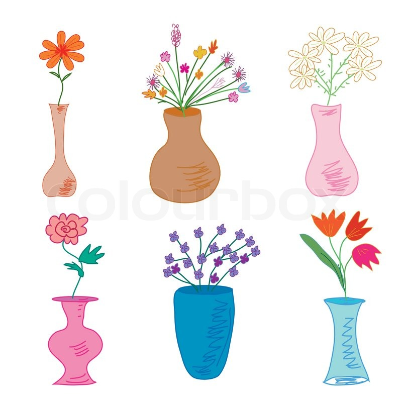 Vases With Flowers Collection Stock Vector Colourbox
