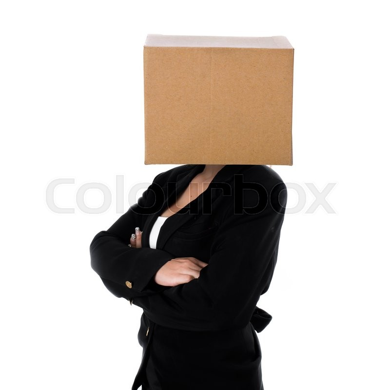 Stock image of 'Black brown box business woman, isolated on white background. crossed arms, conceptual'