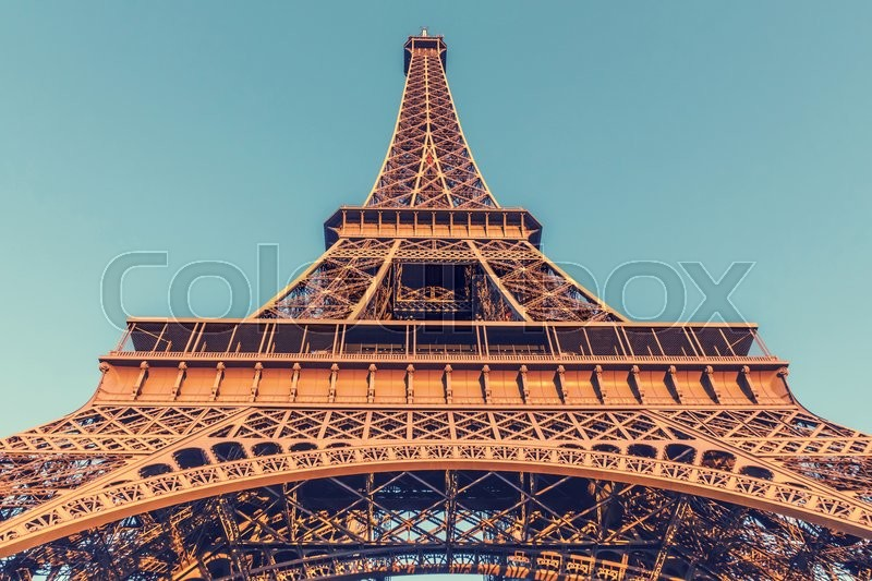 Stock image of 'The Eiffel Tower, located on the Champ de Mars in Paris, France, selective focus, vintage effect'