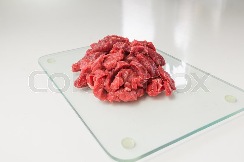 Stock image of 'fleisch, fried, würfel'