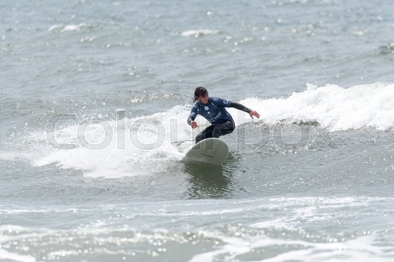 Editorial image of 'GAIA, PORTUGAL - JUNE 10: Abaigar Andony (FRA) at LQS Longboard Pro Gaia Men's Longboard Tour #3.'