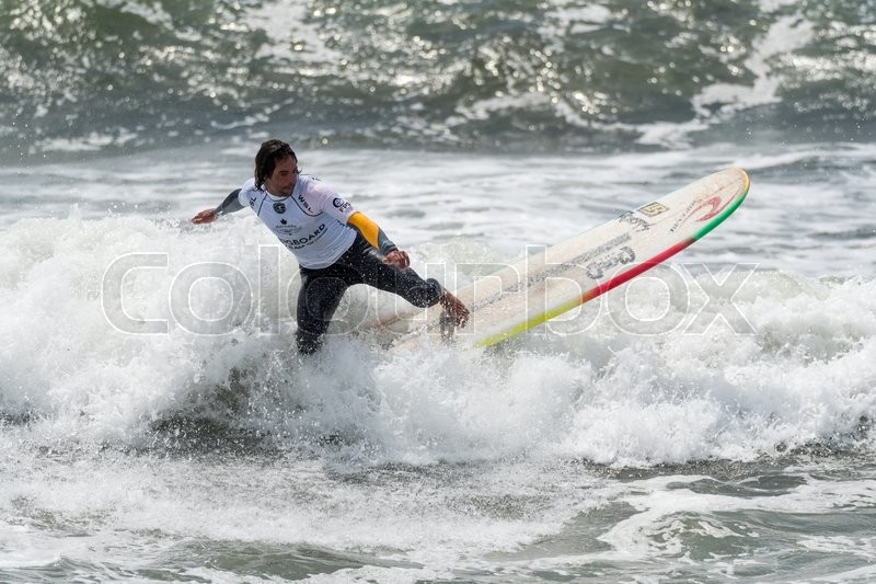 Editorial image of 'GAIA, PORTUGAL - JUNE 10: Daniel Gil (ARG) at LQS Longboard Pro Gaia Men's Longboard Tour #3.'