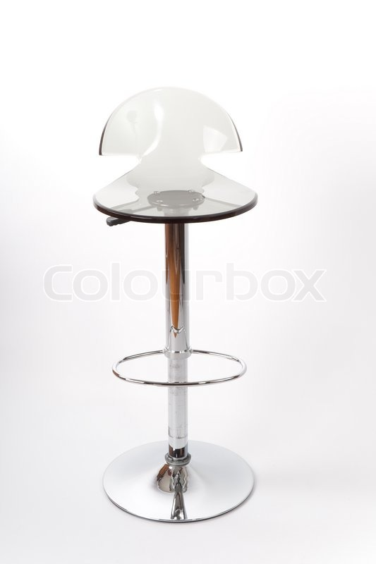 Transparent Bar Stool Made Of Clear Plastic On The High