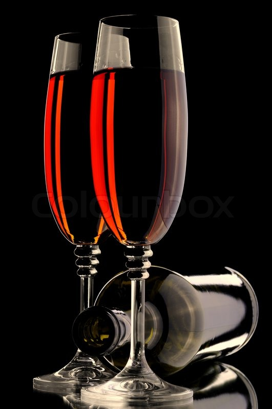 Wine Glass And Bottle On The Black Stock Photo Colourbox