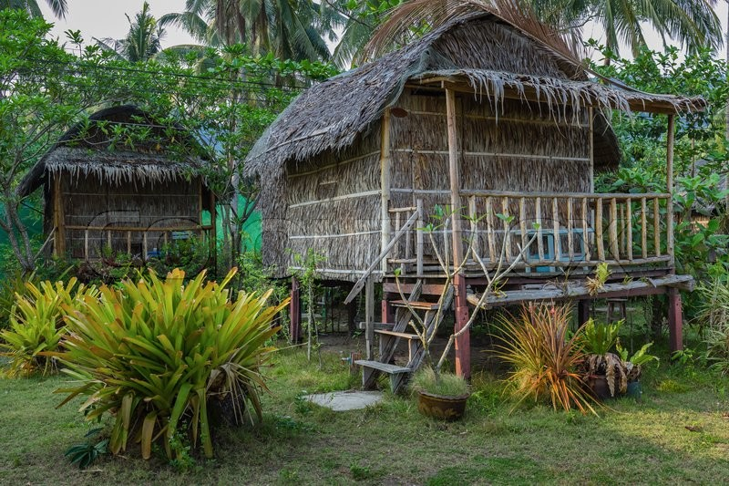 Stock image of 'Cottages are made of palm leaves in the Tropics'