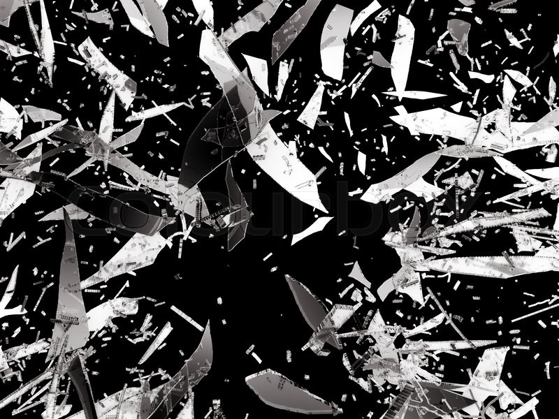 Stock image of 'Shattered or Splitted glass Pieces isolated on black'