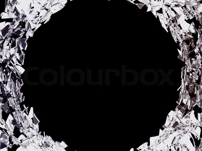 Stock image of 'Big bullet hole and shattered glass over black background'