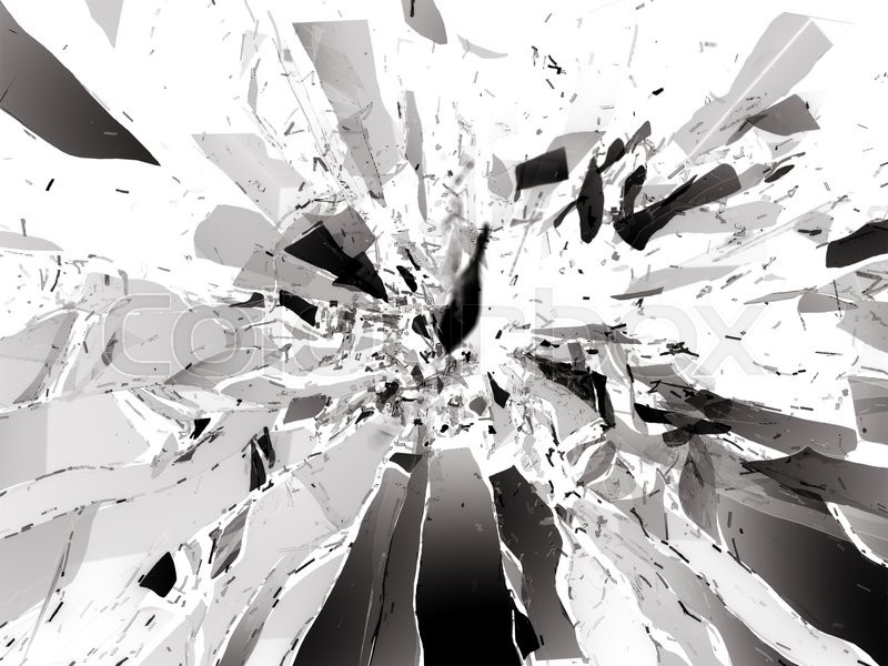 Stock image of 'Broken shattered glass pieces isolated on white'