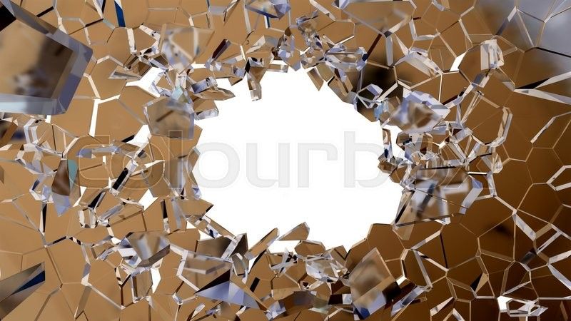 Stock image of 'Bullet hole and pieces of shattered glass on white'