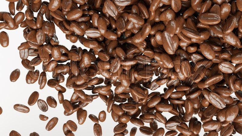 Stock image of 'flying and mixing roasted coffee beans isolated on white'