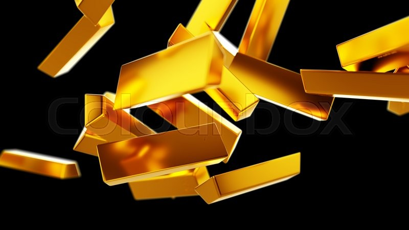 Stock image of 'Gold bars or bullions flow isolated on white. Wealth and success'