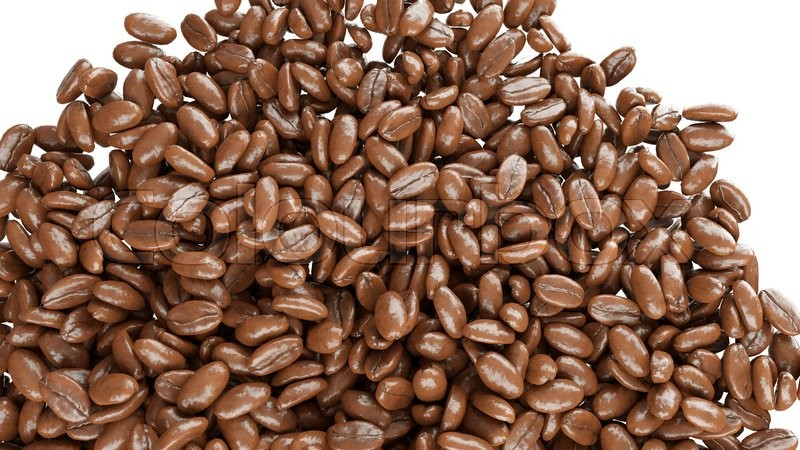 Stock image of 'roasted coffee beans falling down isolated on white'