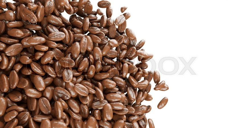 Stock image of 'roasted coffee beans isolated over white'