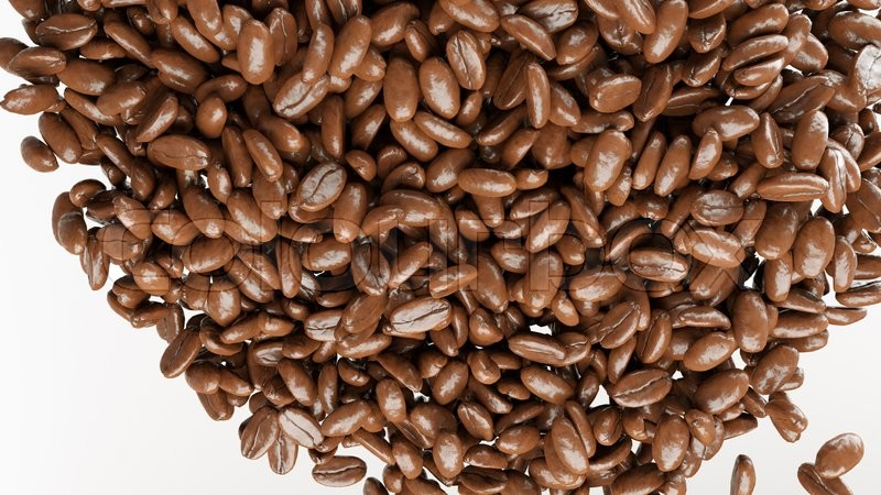 Stock image of 'roasted coffee beans mix on white background'