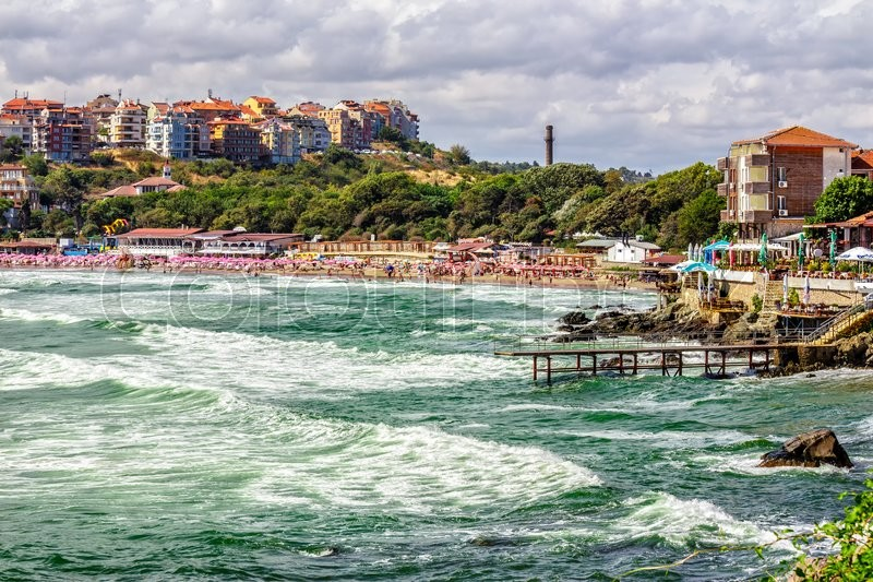 Stock image of 'SOZOPOL - AUGUST 9: Old City  beach on August 9, 2015 in Sozopol, Bulgaria. Waves running  on to the beach of ancient Bulgarian city Sozopol in the mornig'