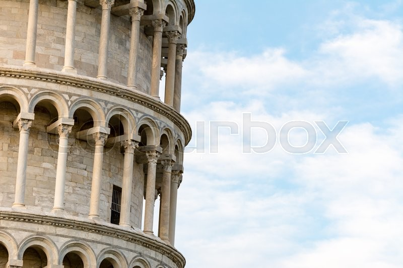 Stock image of 'Detail of the famous Leaning tower of Pisa'