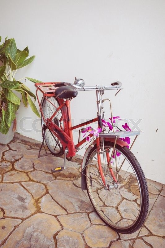 Stock image of 'Classic old bicycle decorated with pink flower'
