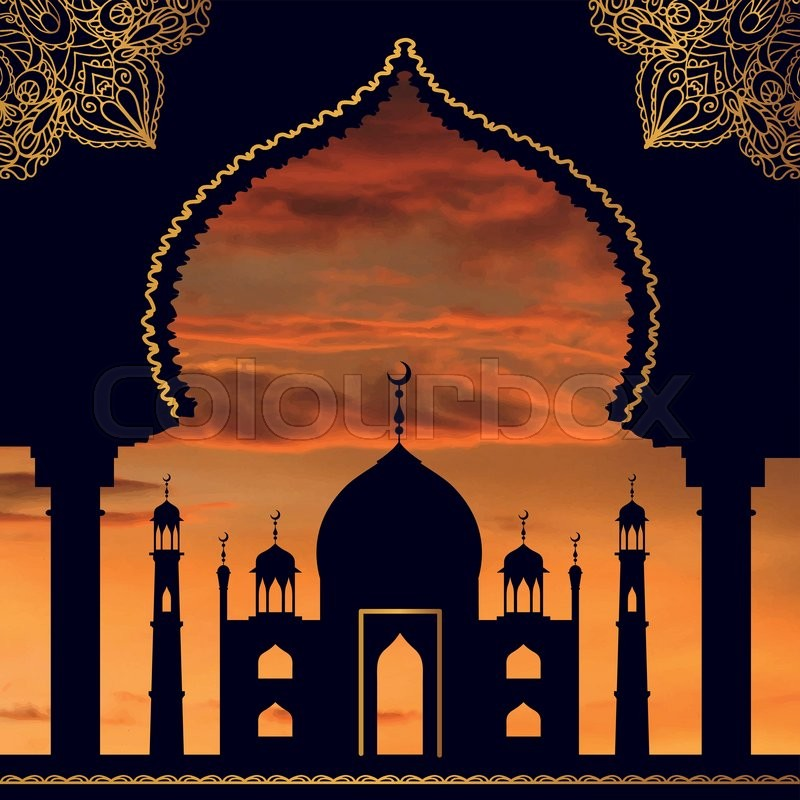 Islamarabicmuslim Background In ArchVector Sunset Sky