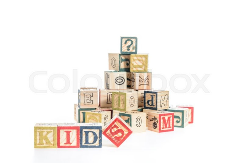 Stock image of 'Photo of a alphabet blocks spelling kids isolate on white background'