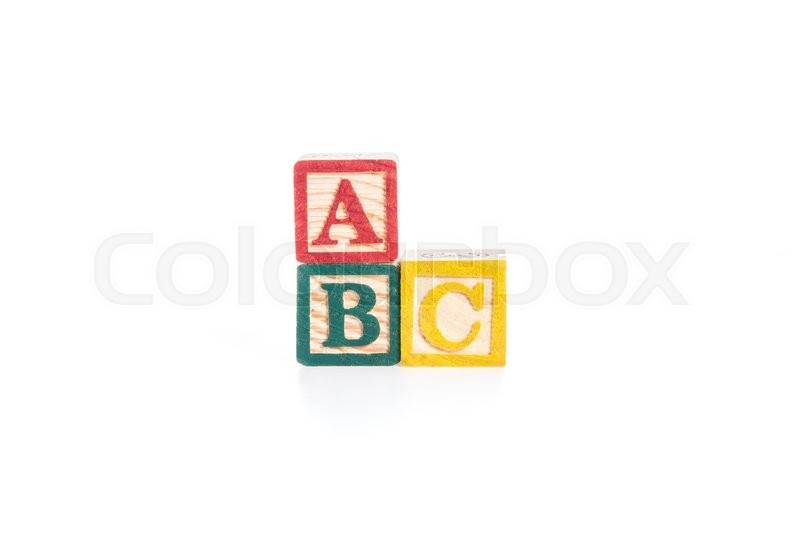 Stock image of 'photo of a alphabet blocks spelling ABC isolate on white background'