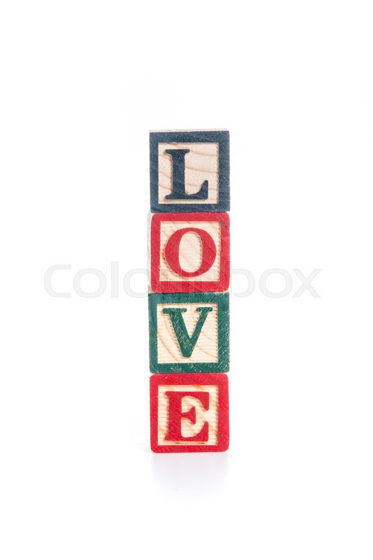 Stock image of 'Photo of a alphabet blocks spelling LOVE isolate on white background'