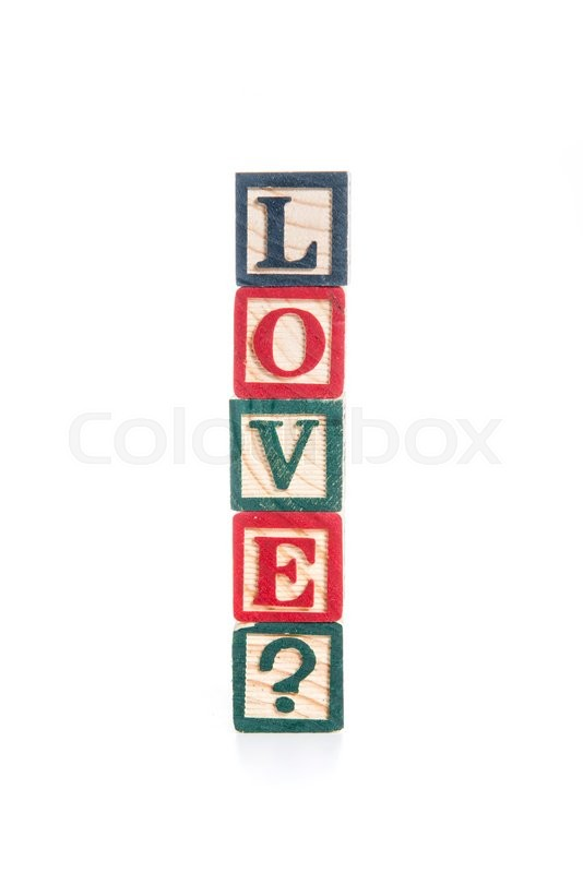 Stock image of 'Photo of a alphabet blocks spelling LOVE? isolate on white background'