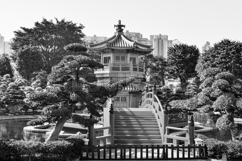 Stock image of 'HONG KONG, HK - DECEMBER 30, 2014 -  The Nan Lian Garden a green oasis of relaxation in the heart of Hong Kong , with a luxuriant nature.'