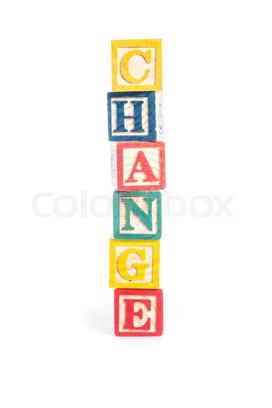 Stock image of 'Photo of a alphabet blocks spelling CHANGE isolate on white background'