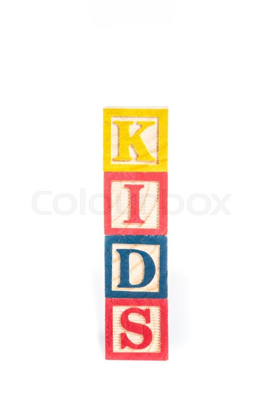 Stock image of 'KIDS with colorful alphabet blocks on white background'