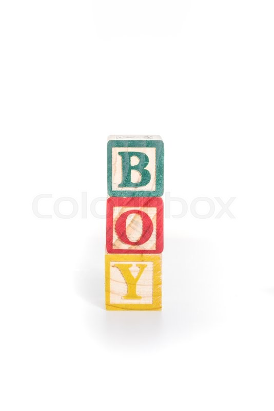 Stock image of 'Photo of a alphabet blocks spelling BOY isolate on white background'